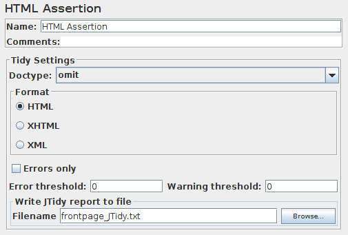 Screenshot for Control-Panel of HTML Assertion