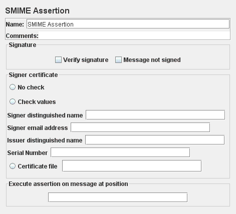 Screenshot for Control-Panel of SMIME Assertion