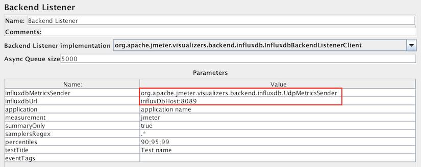 InfluxDB BackendListener