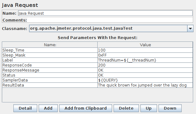 Screenshot for Control-Panel of Java Request