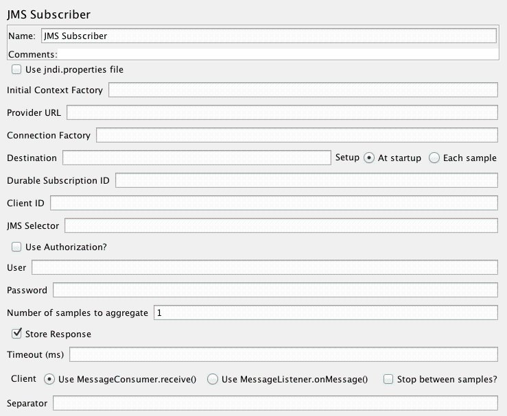 Apache jmeter users manual component reference screenshot for control panel of jms subscriber altavistaventures
