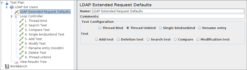 Figure 8b.2 LDAP Defaults for our Test Plan