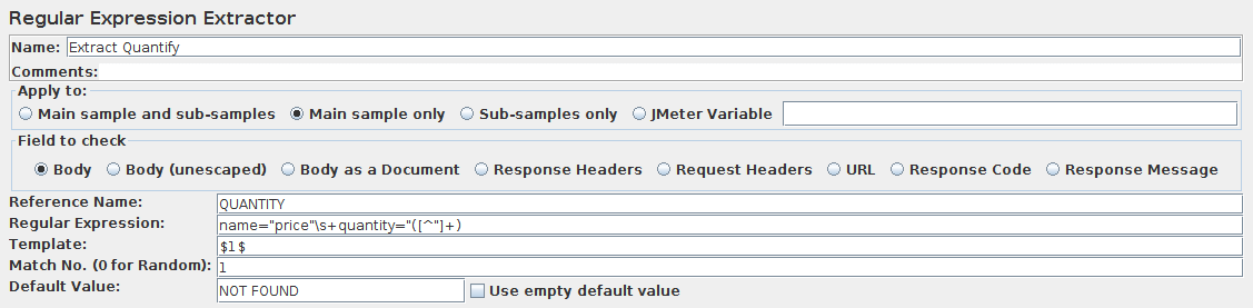 Screenshot for Control-Panel of Regular Expression Extractor