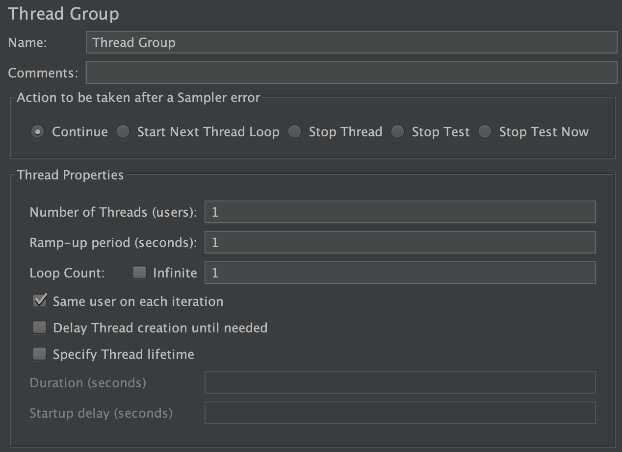 Screenshot for Control-Panel of Thread Group