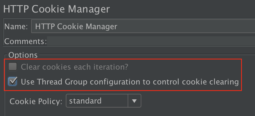 Figure 4.10. Use Thread Group to control CookieManager
